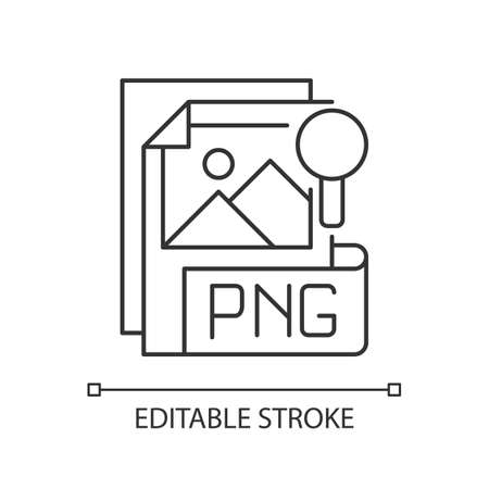 PNG file pixel perfect linear icon. Portable graphics format. Lossless data compression format. Thin line customizable illustration. Contour symbol. Vector isolated outline drawing. Editable stroke