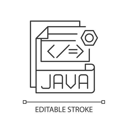 JAVA file pixel perfect linear icon. Source code file. Java programming language. Thin line customizable illustration. Contour symbol. Vector isolated outline drawing. Editable stroke 矢量图像