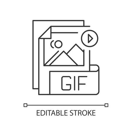 GIF file pixel perfect linear icon. Graphic interchange format. Lossless format. Gif picture. Thin line customizable illustration. Contour symbol. Vector isolated outline drawing. Editable stroke