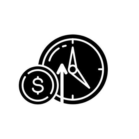 Numismatic value black glyph icon. Monetary gain. Coin with dollar sign. Market income. Trading to increase financial stability. Silhouette symbol on white space. Vector isolated illustration