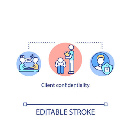Client confidentiality concept icon. Private psychological counseling. Medical secrecy idea thin line illustration. Psychotherapy service. Vector isolated outline RGB color drawing. Editable stroke Stock fotó - 155889471