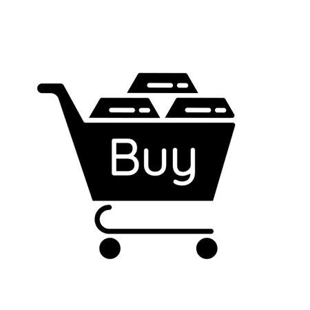 Precious metals purchase black glyph icon. Buy golden and silver bars. Platinum bullion for sale. Business investment. Silhouette symbol on white space. Vector isolated illustration
