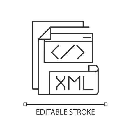 XML file pixel perfect linear icon. Extensible markup language. Storing and transport data. Thin line customizable illustration. Contour symbol. Vector isolated outline drawing. Editable stroke