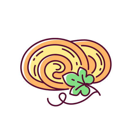 Pumpkin roll RGB color icon. Delicious vegetarian dessert, autumn season confection. Homemade bakery, delicious pastry with gourd. Isolated vector illustration