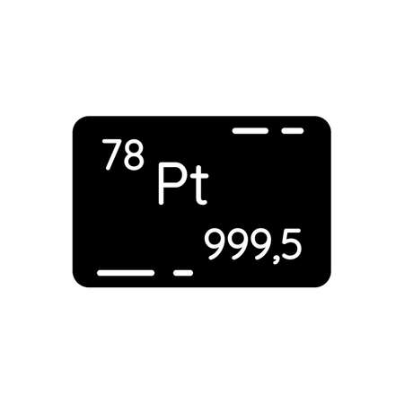 Platinum black glyph icon. Precious metal. Bullion for deposit. Industrial asset. Standard of wealth. Atomic number of element. Silhouette symbol on white space. Vector isolated illustration
