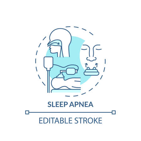 Sleep apnea turquoise concept icon. Respiratory trouble. Problem with breathing during sleep. Healthcare idea thin line illustration. Vector isolated outline RGB color drawing. Editable stroke