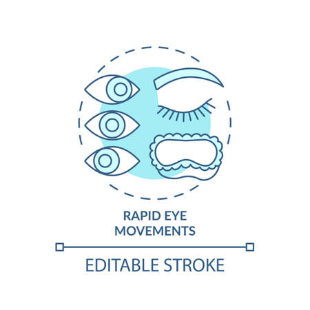 Rapid eyes movement turquoise concept icon. Sleeping cycle. Dreaming phase while asleep. Rest pattern. REM stage idea thin line illustration. Vector isolated outline RGB color drawing. Editable stroke Vektoros illusztráció