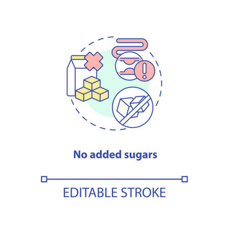 No added sugars concept icon. Healthy cooking ingredients types. Vegan meals. Sustainable diet idea thin line illustration. Vector isolated outline RGB color drawing. Editable stroke