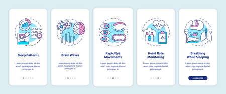 Medical exam of sleep pattern onboarding mobile app page screen with concepts. Healthcare control walkthrough 5 steps graphic instructions. UI vector template with RGB color illustrations