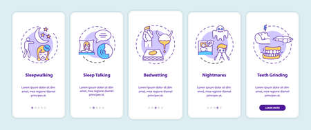 Sleep problems onboarding mobile app page screen with concepts. Healthcare issue. Sleep disorders walkthrough 5 steps graphic instructions. UI vector template with RGB color illustrations Illusztráció
