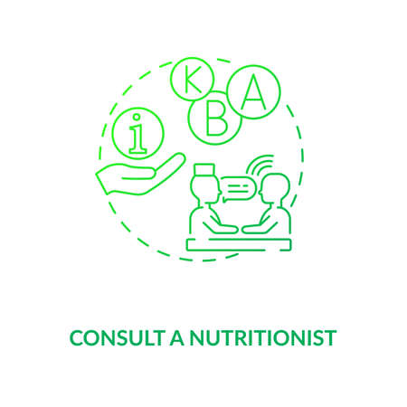 Consultation with nutritionist concept icon. Adequate vitamins intake idea thin line illustration. Developing meal plans. Consultant dietitians. Vector isolated outline RGB color drawing.