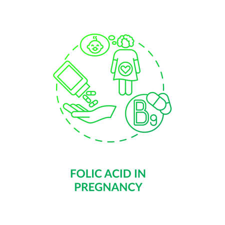 Folic acid in pregnancy concept icon. Needed supplement idea thin line illustration. Vitamin B9. Risk reducing. Pregnancy-related complications. Vector isolated outline RGB color drawing. Vectores