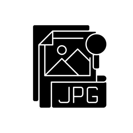 JPG file black glyph icon. Compressed image format. Digital images. JPEG. Lossless coding mode. Standardized lossy compression mechanism. Silhouette symbol on white space. Vector isolated illustration
