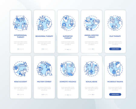 Psychotherapy types and PTSD reasons onboarding mobile app page screen with concepts set. Trauma therapy walkthrough 5 steps graphic instructions. UI vector template with RGB color illustrations