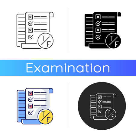 True false test icon. Short answer questioning. Knowledge check. Examination in school and inuversity. Linear black and RGB color styles. Isolated vector illustrations