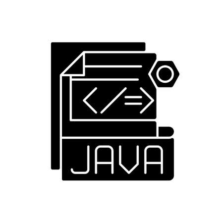 JAVA file black glyph icon. Source code file. Java programming language. Filename extension. Lossless data compression, archiving. Silhouette symbol on white space. Vector isolated illustration