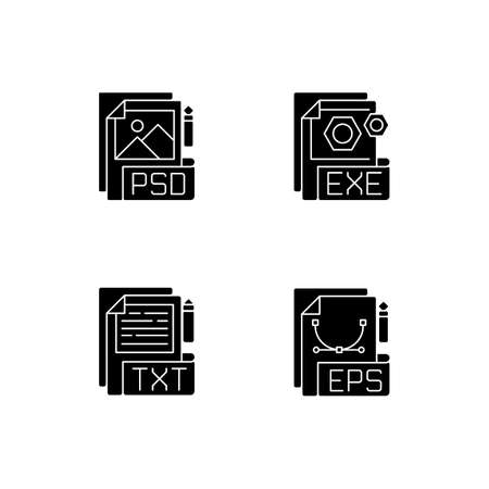 File types black glyph icons set on white space. PSD. EXE. TXT. EPS. Raster image, vector image, executable files. Simple text editors. Silhouette symbols. Vector isolated illustration