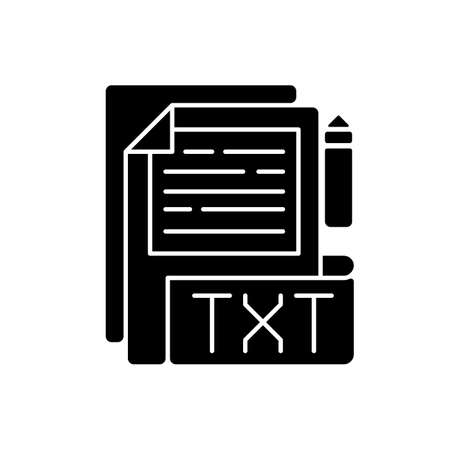 TXT file black glyph icon. File extension. Simple text editors. Information storing. Plain text without special formatting. Silhouette symbol on white space. Vector isolated illustration