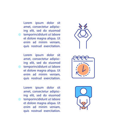 Sleep disturbances concept icon with text. Circadian rhythms disruption, insomnia problem. PPT page vector template. Brochure, magazine, booklet design element with linear illustrations 向量圖像
