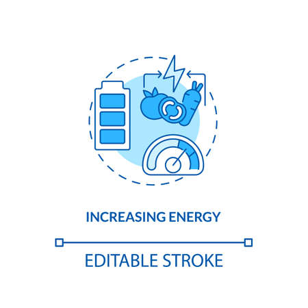 Increasing energy concept icon. Getting body improvements. Health care ideas. Vegan eating. Vegetarianism pros idea thin line illustration. Vector isolated outline RGB color drawing. Editable stroke Illusztráció