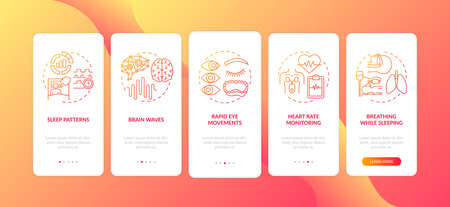 Sleep problems red gradient onboarding mobile app page screen with concepts. Healthcare issue. Sleep disorders walkthrough 5 steps graphic instructions. UI vector template with RGB color illustrations Vektoros illusztráció
