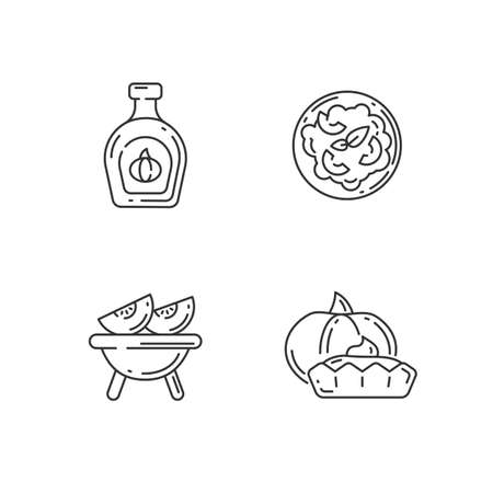 Homemade food linear icons set. Roasted gourd, pumpkin risotto, tasty tartlet and syrup customizable thin line contour symbols. Rustic cooking. Isolated vector outline illustrations. Editable stroke