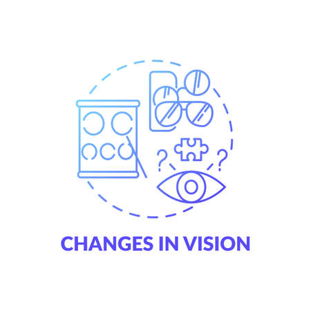 Changes in vision blue gradient concept icon. Disorder problem. Early sign of Alzheimer. Symptom of dementia. Brain health idea thin line illustration. Vector isolated outline RGB color drawing