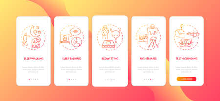 Sleep problems red gradient onboarding mobile app page screen with concepts. Healthcare issue. Sleep disorders walkthrough 5 steps graphic instructions. UI vector template with RGB color illustrations Stock fotó - 155973515