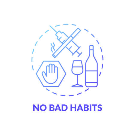 No bad habits blue gradient concept icon. Avoid addiction. Warning for drug using. Restriction from substance. Brain health idea thin line illustration. Vector isolated outline RGB color drawing