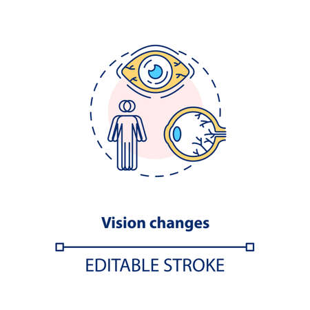 Vision changes concept icon. Vitamin shortages symptom idea thin line illustration. Vision loss risk. Age-related macular degeneration. Vector isolated outline RGB color drawing. Editable stroke