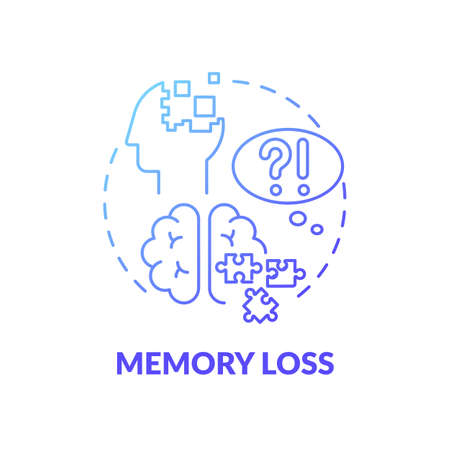 Memory loss blue gradient concept icon. Suffer from trauma. Patient with amnesia. Difficulty remembering. Brain health problem idea thin line illustration. Vector isolated outline RGB color drawing