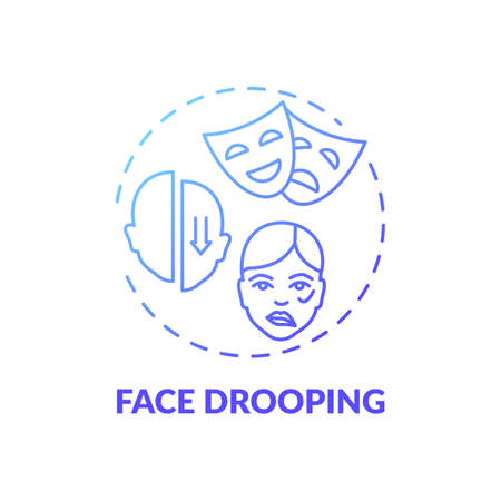 Face drooping blue gradient concept icon. Facial weakness. Problem from disorder. Neurology diagnosis. Brain health idea thin line illustration. Vector isolated outline RGB color drawing