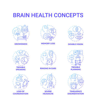 Brain health blue gradient concept icons set. Drowsiness from lack of sleep. Memory loss. Double vision. Health care idea thin line RGB color illustrations. Vector isolated outline drawings