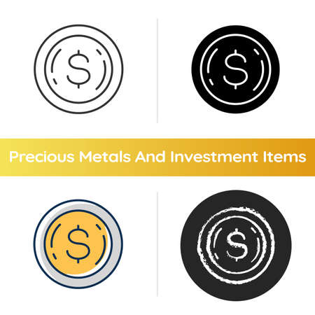 Commemorative coin icon. Precious metal investment. Dollar sign on penny. Financial wealth. Price for payment. Trading asset. Linear black and RGB color styles. Isolated vector illustrations