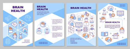 Brain health brochure template. Human mental healthcare and neurology flyer, booklet, leaflet print, cover design with linear icons. Vector layouts for magazines, annual reports, advertising posters