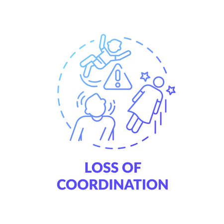 Loss of coordination blue gradient concept icon. Problem with movement from disorder. Dizziness trouble. Brain health idea thin line illustration. Vector isolated outline RGB color drawing