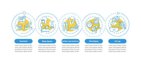Insomnia onboarding vector infographic template. Sleeplessness presentation design elements. Data visualization with 5 steps. Process timeline chart. Workflow layout with linear icons 向量圖像