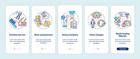 Vitamin deficiency symptoms onboarding mobile app page screen with concepts. Hair loss, joint pain, tiredness walkthrough 5 steps graphic instructions. UI vector template with RGB color illustrations