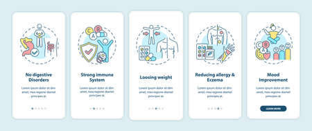 Probiotics benefits onboarding mobile app page screen with concepts. No digestive disorders, losing weight walkthrough 5 steps graphic instructions. UI vector template with RGB color illustrations Ilustración de vector