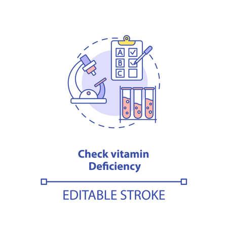 Check vitamin deficiency concept icon. Adequate vitamins intake idea thin line illustration. Venous and finger-prick blood test. Vector isolated outline RGB color drawing. Editable stroke Vektoros illusztráció