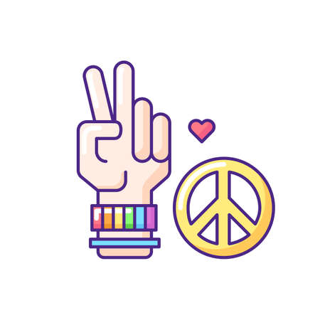 Peace RGB color icon. Relationship freedom symbol. Hand showing V sign. Love and peace hippie gesture. Isolated vector illustration Ilustración de vector