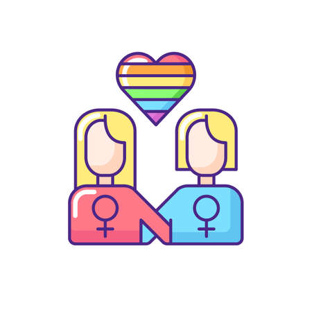 Lesbian relationship RGB color icon. Bisexual mind thoughts. Women love idea. Lesbian parade. Pride rainbow flag. Isolated vector illustration