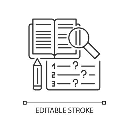 Reading examination pixel perfect linear icon. Comprehension practice tests. Education. Thin line customizable illustration. Contour symbol. Vector isolated outline drawing. Editable stroke