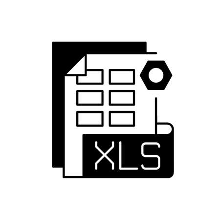 XLS file black linear icon. Binary file format. Spreadsheet programs. Workbook files. XLSX extension. Financial data storing. Outline symbol on white space. Vector isolated illustration 免版税图像 - 156136472