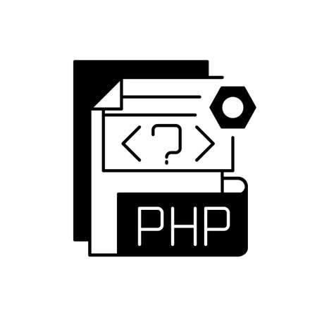 PHP file black linear icon. Source code file. Hypertext Preprocessor code. Webpage files. String, integer, floating point number. Outline symbol on white space. Vector isolated illustration
