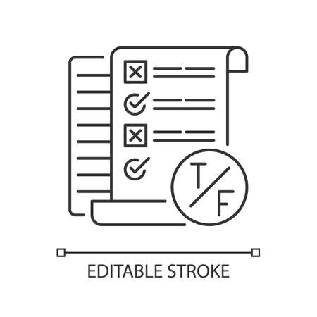 True false test pixel perfect linear icon. Short answer questioning. Examination. Thin line customizable illustration. Contour symbol. Vector isolated outline drawing. Editable stroke