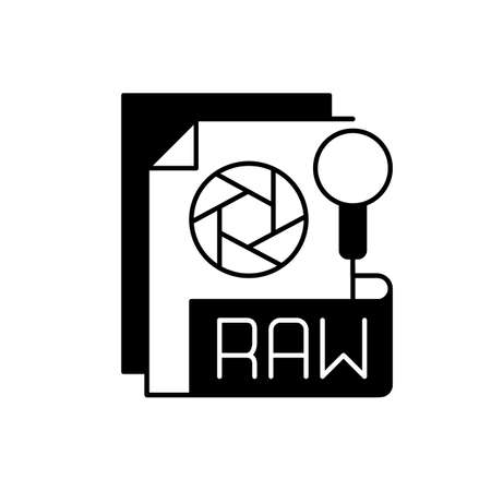 RAW file black linear icon. Camera raw image file. File extension. Uncompressed images. Digital cameras and scanners. Unedited state. Outline symbol on white space. Vector isolated illustration