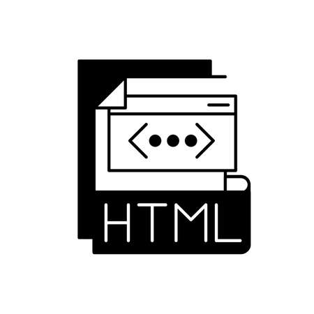 HTML file black linear icon. Hyper text markup language. Htm file extension. Browser instructions. Text file with small markup tags. Outline symbol on white space. Vector isolated illustration