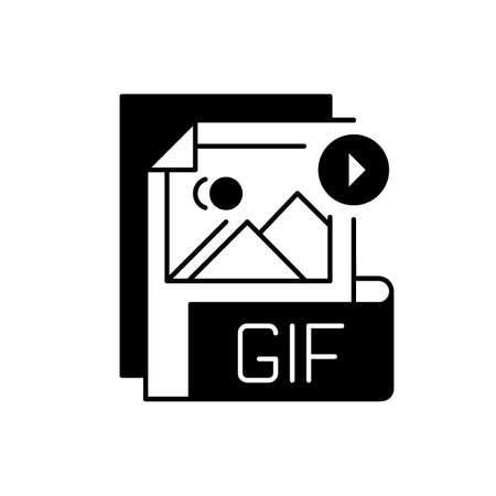 GIF file black linear icon. Graphic interchange format. Filename extension. Animated raster graphics file. Lossless format. Gif picture. Outline symbol on white space. Vector isolated illustration