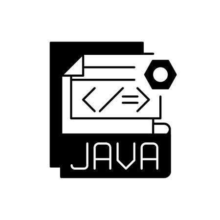 JAVA file black linear icon. Source code file. Java programming language. Filename extension. Lossless data compression, archiving. Outline symbol on white space. Vector isolated illustration 矢量图像